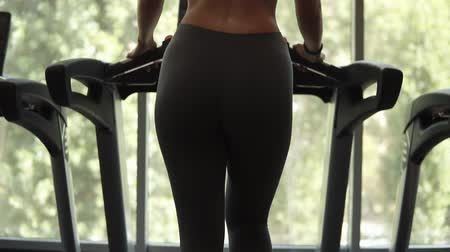 pažba : Gorgeous view from lower to up below of a fit woman in black bra and leggings warming up on a treadmill in front the panoramic window at gym. Backside view Dostupné videozáznamy