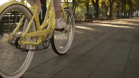 vehicle part : Female faceless legs walking by bicycle on paved road close up side view active lifestyle. Girl woman goes with vintage bike on street or green park. Healthy life, sun shines on the background