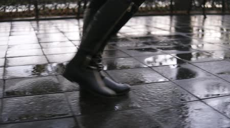 punčocháče : Woman take walk at autumn park walking along the pavement alley. Close up legs and shoes view. Graceful lady wear black high boots. Autumn weather, rayny, wet road. Side view