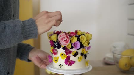 díszített : Close up of womans hands decorates cake with flowers on white modern kitchen studio. Woman makes finish decorating a wedding or birthday cake with fresh, eatable flowers. Footage from the side Stock mozgókép