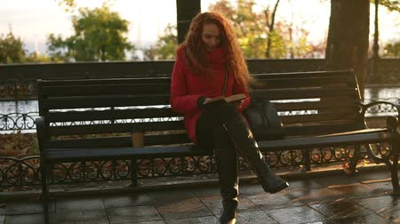 novel : Young lady is reading a book, red head lovely girl is sitting on park bench, autumn colourful scene, lens flares, relax in city park. Sun strongly shining n the background