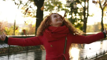 obyčejný : Portrait of a happy red head woman throwing leaves around on an autumns day. Autumn leaves falling on happy young woman in city park. Autumnal mood. Fall. Smiling girl in red coat in park Dostupné videozáznamy