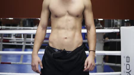 naga : Portrait of a boxer or fighter topless standing in the thief, rubber mask on the boxing ring in the gym. Full length of athlete with muscular torso, wearing black pants Wideo