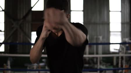 lightweight : Young man in black T shirt fulfills blows, punches while looking seriously at camera in the gym. Close up tired from workout boxer Stock Footage