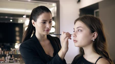 toner : Make up artist with long dark pony tail applying concealer or toner on a problem parts of models face using a small brush applicator. Bright make up studio Stock Footage