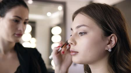 toner : Close-up of brunette woman applying cosmetic on cheekbones with a make up brush. Girl in the salon make-up, apply powder on the skin, foundation or toner. Accelerated footage Stock Footage