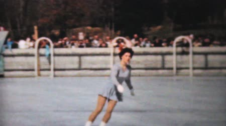 skate : Scenes from an outdoor Figure Skating year end show in Philadelphia, Pennsylvania in 1962. Stock Footage
