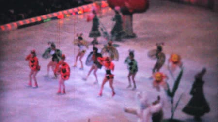 patenci : Various scenes from an indoor Ice Follies Show in Philadelphia, Pennsylvania in 1962. Stok Video
