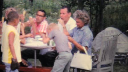 piknik : A large extended family enjoys a big summer picnic get together reunion in 1962.