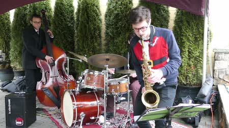 полоса : A cool jazz band trio plays Christmas carols over the holidays busking outside the shopping area for shoppers to enjoy!