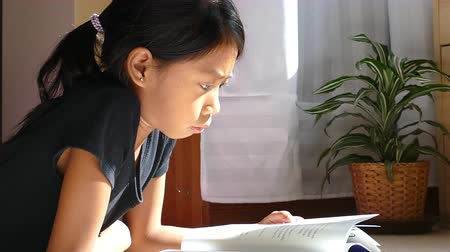 czytanie : A cute little Asian girl enjoys reading her book and doing homework in her sunbeam in the afternoon.
