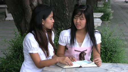 biblia : Two Asian university students get together to read the bible and discuss religious concepts.