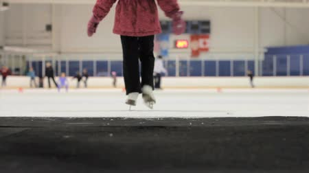 bezmotorové létání : A cute little 5 year old Asian girl carefully walks onto the ice at the local skating rink.
