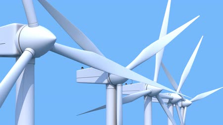 устойчивость : Row of wind power generators on blue background. Loopable