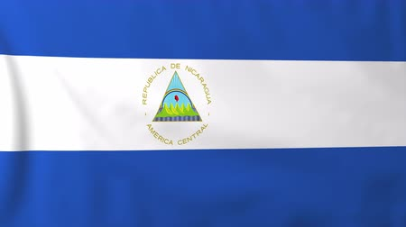 nicaraguan : Flag of Nicaragua, slow motion waving. Rendered using official design and colors. Highly detailed fabric texture. Seamless loop in full 4K resolution. ProRes 422 codec. Stock Footage