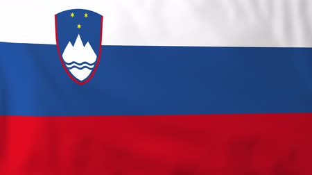 slovinsko : Flag of Slovenia, slow motion waving. Rendered using official design and colors. Highly detailed fabric texture. Seamless loop in full 4K resolution. ProRes 422 codec.