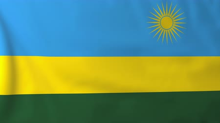 rwandan : Flag of Rwanda, slow motion waving. Rendered using official design and colors. Highly detailed fabric texture. Seamless loop in full 4K resolution. ProRes 422 codec. Stock Footage