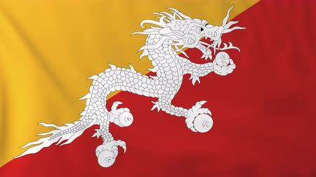 bhutan : Flag of Bhutan, slow motion waving. Rendered using official design and colors. Highly detailed fabric texture. Seamless loop in full 4K resolution. ProRes 422 codec. Stock Footage