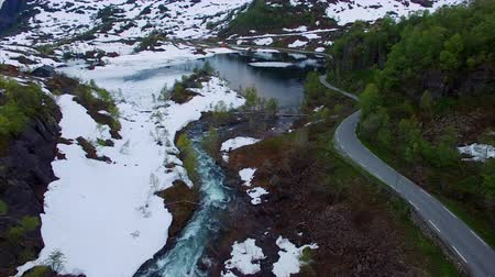 northern nature : Aerial footage of Ryfylke mountain pass in Norway, national tourist road. Aerial 4k Ultra HD. Stock Footage