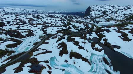 İskandinavya : Aerial footage of scenic cold landscape of Ryfylke mountain pass in Norway, national tourist road. Aerial 4k Ultra HD.