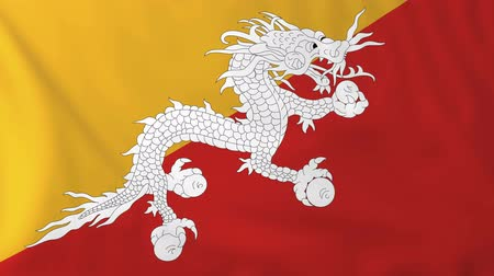 bhutan : Flag of Bhutan, slow motion waving. Rendered using official design and colors.