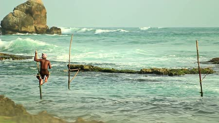 subsistence : Hambantota, Sri Lanka, November 10, Sri Lankan fishermen catch fish in the ocean, the local flavor.