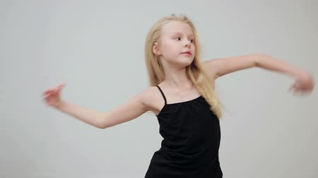 little finger : Young girl shows the various model poses