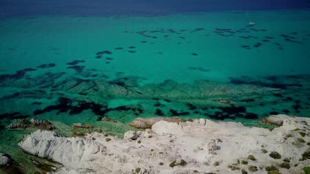 macedonia : Beautiful rocky coastline top aerial view drone shot, Sithonia, Greece