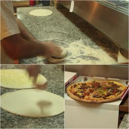 diner : Pizza chef is making pizza.