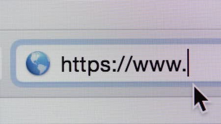 web sites : Macro shot of computer screen and https:  address bar.
