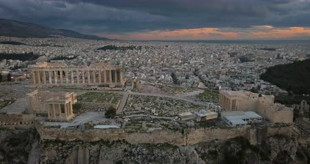 aerial athens : Aerial view of Acropolis of Athens at sunset, Greece Stock Footage