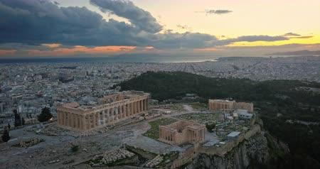 aerial athens : Aerial view of Acropolis of Athens at sunset Stock Footage