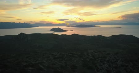 égei : Aerial view of Aegina island, Greece at beautiful sunset