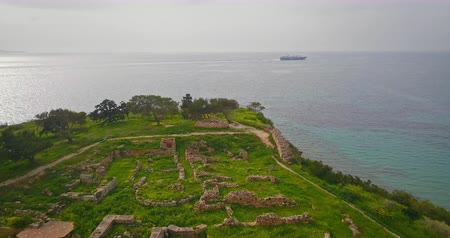 colona : Aerial view of Temple of Apollo (Hill of Kolona) on Aegina island, Greece