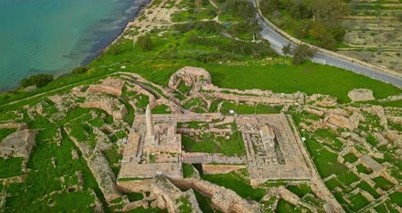 saronic : Aerial view of Temple of Apollo (Hill of Kolona) on Aegina island, Greece