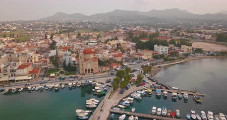 saronic : Aerial view of greek town Aegina, port of Aegina, Greece