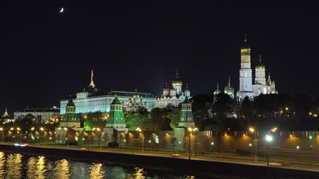 moscow night : Night Moscow Kremlin Close-up Timelapse Stock Footage