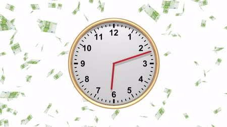 bringing home the bacon : Time is Money - Clock with Falling Euros - HD loop