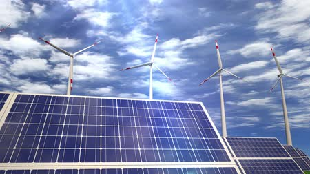 türbin : Solar panels and wind turbines passing by Stok Video