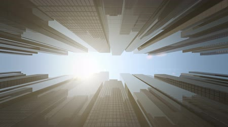 Time lapse of sun moving over skyscrapers of business center Stock Footage