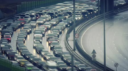 Time lapse of traffic jam on a highway Stock Footage