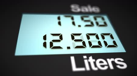 petrol : Petrol station pump display counting money and liters of fuel,angle view, 4K Stock Footage