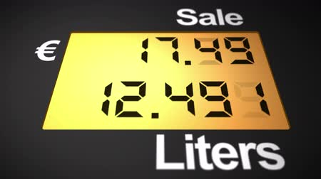 literário : Petrol station pump counting euros and liters of fuel, bottom view, 4K Stock Footage