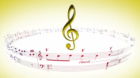 hangjegykulcs : Violin clef rotating in the center of music sheets notes carousel, seamless loop