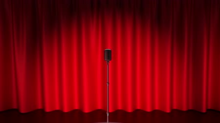 singers : Speaker walks close to microphone and meets auditorium ovations with multiple photo camera flash lights Stock Footage