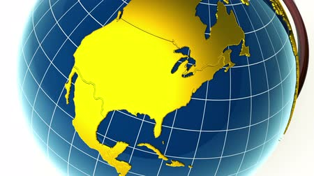 north america : Golden globe rotating, zooming to North America Stock Footage
