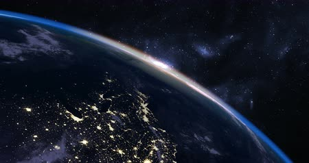 смещение : Beautiful Sunrise over Earth seen from Space, time-lapse, angled shot Стоковые видеозаписи