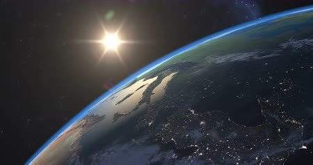 смещение : Spectacular sunset over Earth seen from Space, time-lapse