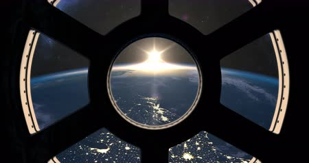 north america : Sunrise over Earth seen from International Space Station Stock Footage