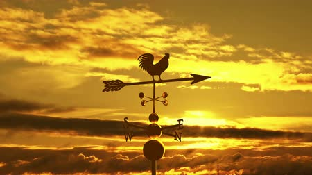 napfény : Weathervane cockerel floating against sunset
